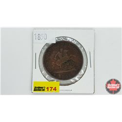 Bank of Upper Canada Bank Token One Penny 1850