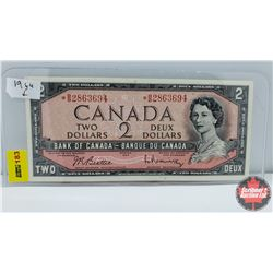 Canada $2 Bill 1954 (Replacement) S/N# *BB2863694