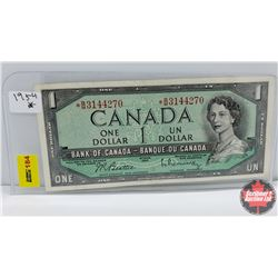 Canada $1 Bill 1954 (Replacement) S/N# *BM3144270