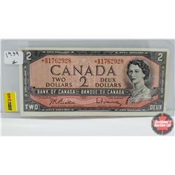 Canada $2 Bill 1954 (Replacement) S/N# *BB1762928