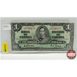 Canada $1 Bill 1937 S/N#JM3728177 Gordon/Towers