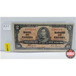 Canada $2 Bill 1937 S/N#JR3082384 Coyne/Towers
