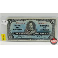 Canada $5 Bill 1937 S/N#DS8289623 Coyne/Towers
