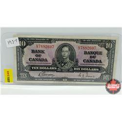 Canada $10 Bill 1937 S/N#ED7882607 Gordon/Towers
