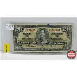 Canada $20 Bill 1937 S/N#EE8757495 Gordon/Towers