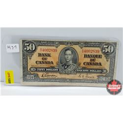 Canada $50 Bill 1937 S/N#BH4002839 Gordon/Towers