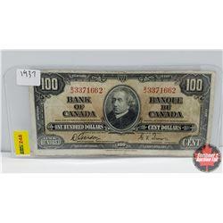 Canada $100 Bill 1937 S/N#BJ3371662 Gordon/Towers