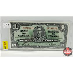Canada $1 Bill 1937 S/N#BN1201523 Coyne/Towers