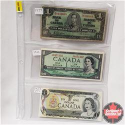 Canada $1 Bills - Sheet of 3: 1937 S/N#WA8166669 & 1954 S/N#YP8871332 & 1973 S/N#EAZ4115700