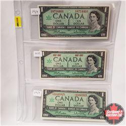 Canada $1 Bills 1967 - Sheet of 3 Varieties: S/N#FP8714460 & No S/N# & Replacement S/N#*BM1665925