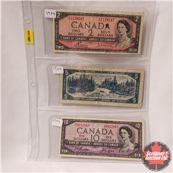 Canada Bills 1954 Sheet of 3: $2 S/N#FG1178587; $5 S/N#PS7945042; $10 S/N#PD0612865