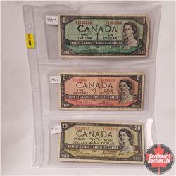 Canada Bills 1954 Sheet of 3: $1 S/N#SF1635609; $2 S/N#RG8883633; $20 S/N#ZE3313352