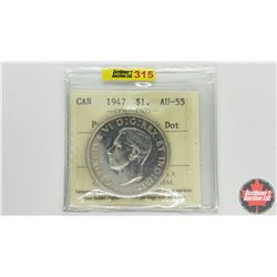 Canada Silver Dollar 1947 (ICCS Cert AU-55 ~ Pointed 7 with Dot)
