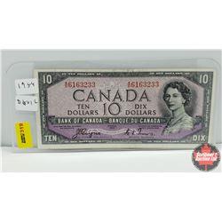 Canada $10 Bill 1954DF : S/N#AD6163233 Coyne/Towers