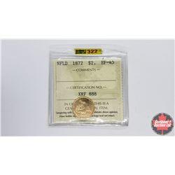 Newfoundland $2 Coin 1872 (ICCS Cert EF-45)