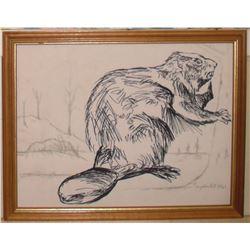 Signed dated 1961 inks LangdonArt framed drawing of beaver - encres castor dessin par LangdonArt