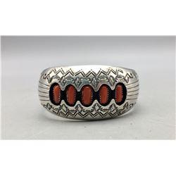 Vintage Five Stone Coral Bracelet