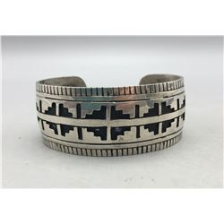 Sterling Silver Overlay Bracelet With Rug Pattern