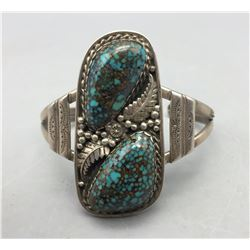 Vintage Two Stone Spiderweb Turquoise Bracelet