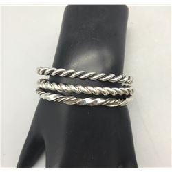 Three Vintage Twisted Wire Bracelets