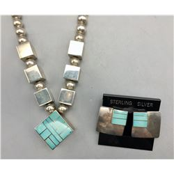 Turquoise Inlay Necklace Set by Ray Tracy