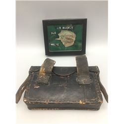Antique Military Cartridge Box and Dug Belt Buckle