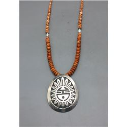 Willy Yazzie Pendant with Spiny Oyster Necklace