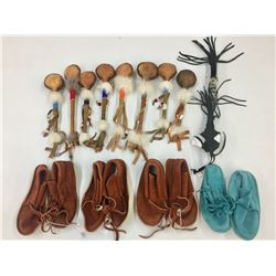Group of Child's Moccasins and Rattles