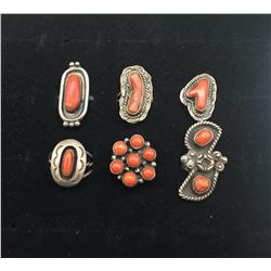 Six Vintage Coral Rings