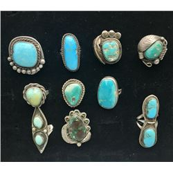 10 Vintage Turquoise Rings