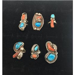Six Vintage Turquoise and Coral Rings