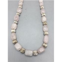 Rose Quartz Crystal and Sterling Silver Bead Necklace