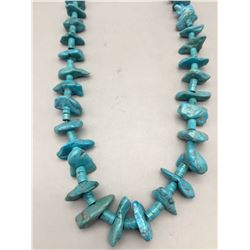 Turquoise Nugget and Disc Bead Necklace