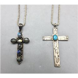 Two Sterling Silver Cross Necklaces