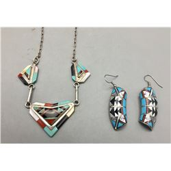Inlay Necklace and Earrings