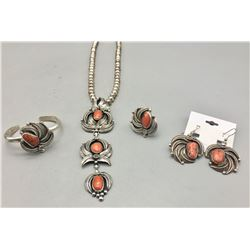 Coral Necklace, Bracelet, Ring and Earrings Set