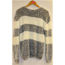 BESCA ANGORA STYLE GREY AND WHITE STRIPE WOMENS