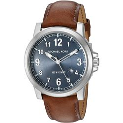 NEW MICHAEL KORS BLUE DIAL/BROWN BAND MSRP $275