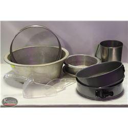 11PCS OF BAKING PANS, PITCHER, PIE PLATES, SOOPS