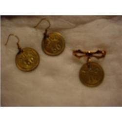 Necklace & earrings, brass pickers' checks made #862920