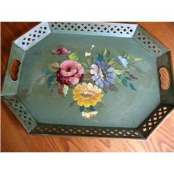 Vintage Signed Tole Painted Tray #862992