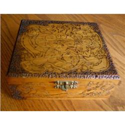 Antique Flemish Art Pyrography Box and Hankies #863000