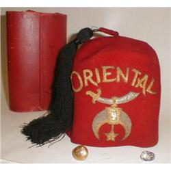 VINTAGE SHRINERS ORIENTAL FEZ W/ ORIGINAL BOX #863009