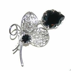 Spectacular Vintage Black Glass Tulip Brooch #863014