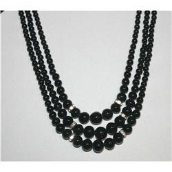 VintageTriple Strand Black Glass Necklace #863017
