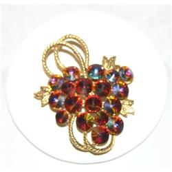 Vintage Watermellon Grape Rivoli Brooch #863023