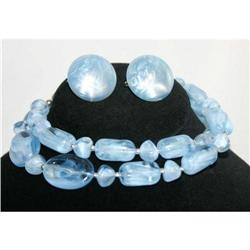 Vintage Aqua Blue Lucite Necklace #863024