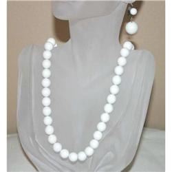 Vintage White Glass Beaded Necklace & Earrings #863026