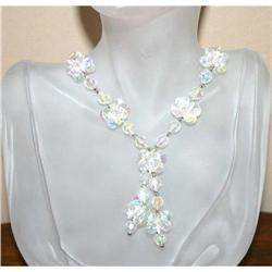 Vintage Lucite Aurora Borealis Flower Necklace #863029