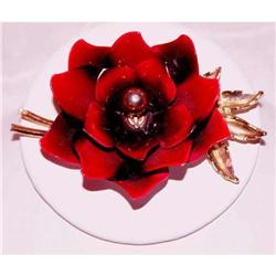 Coro Vintage Enameled Red Rose Brooch #863032